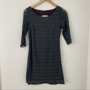 Free People Lace Overlay Dress with 3/4 Sleeves
